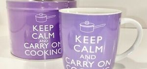 Keep Calm and carry on cooking mug and tin